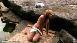 Redhead ladyboy shows off tiny tits and strokes small cock Blonde latina
