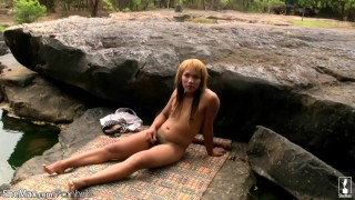 Redhead ladyboy shows off tiny tits and strokes small cock Slim hardcore
