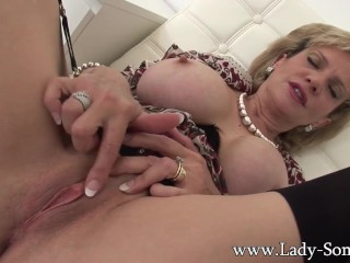 British Milf Lady Sonia home alone masturbation and tit play