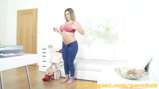 FakeAgent Busty English babe in casting