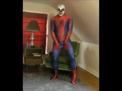 Spiderman wearing a skeleton lucha libre wrestling mask