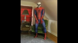 Spiderman wearing a skeleton lucha libre wrestling mask