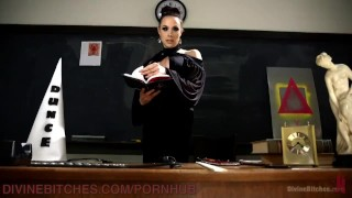 Femdom Manifesto Lesson scum-manifesto pegging femdom ass-fuck kink strapon blindfold ball-gag bdsm over-the-knee big-tits school bondage humiliation dog-crate paddling high-heels