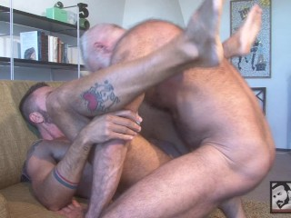 Furry Allen Silver and Uncut Daddy Ale Tedesco Fuck on the Couch