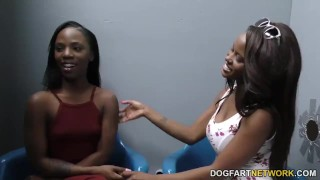 Jezabel Vessir and Sarah Banks - Gloryhole Initiations  hd videos ebony black blowjob gloryhole ffm pornstar fetish hardcore dogfart interracial dogfartnetwork 3some threesome glory hole huge cock
