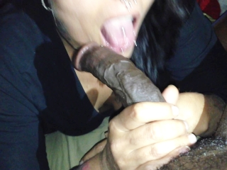 Preview 2 of Mature Raven haired vixen milks Long Thick BLACK COCK