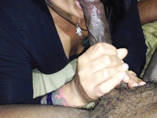 Preview 4 of Mature Raven haired vixen milks Long Thick BLACK COCK