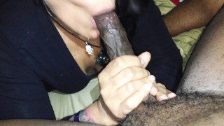 Preview 3 of Mature Raven haired vixen milks Long Thick BLACK COCK