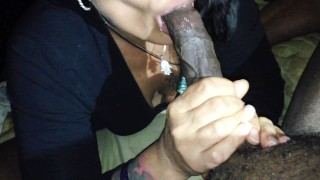Preview 5 of Mature Raven haired vixen milks Long Thick BLACK COCK