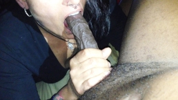 Mature Raven haired vixen milks Long Thick BLACK COCK