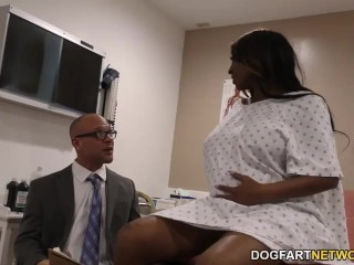 Pregnant ebony Kayla Ivy gets threesome fucked