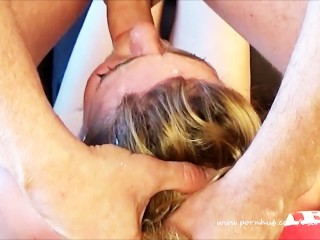 Amateur Drooling Sloppy Deepthroat Upside Down and Monster Cumshot.