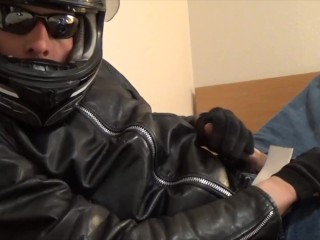 Leather biker jerk off