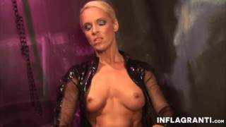 INFLAGRANTI German Latex Dominatrix  big tits masturbation dildo femdom leather busty toys german fingering orgasm inflagranti fake tits piercings shaved pussy