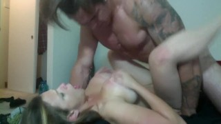 girl with big tits gets fucked by a tattooed Jock  doggy style big ass babe big-tits blowjob tattoo big-boobs female-friendly jock muscles abs brunette hunk rough muscle tattoos
