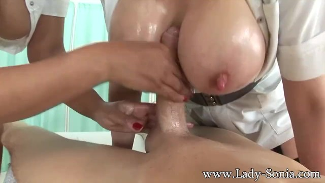 Mature uk ladies - Lady sonia and friend give oily hadjob cum big tits