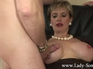 Preview 1 of Lady Sonia fucks 2 guys gets covered in cum