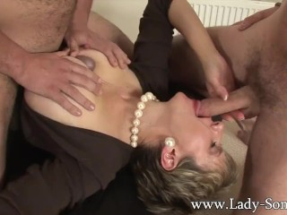 Preview 2 of Lady Sonia fucks 2 guys gets covered in cum