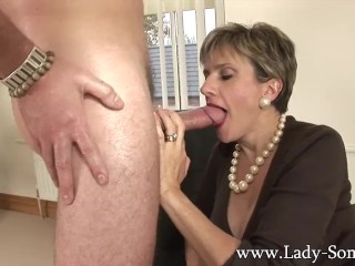 Preview 5 of Lady Sonia fucks 2 guys gets covered in cum