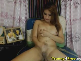 Pretty Asian Beauty Strokes her Hard Tranny Cock