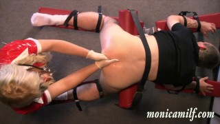Hard femdom with Kinky norwegian Monicamilf pegging and assfisting a client View smoke
