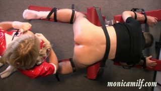 Hard femdom with Kinky norwegian Monicamilf pegging and assfisting a client