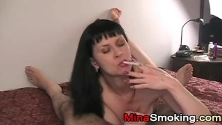 Housewife gives blowjob while smoking a cigarette Humiliation instructional