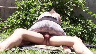 Neighbors riding with my entertaining creampie a the in backyard creampie couple
