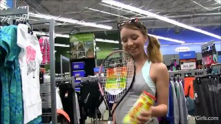 Teen masturbates with tennis racket in store Bald casting