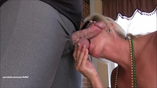 Horny step mom goes WILD! Mega squirting creampie surprise you gotta see! Milf blonde