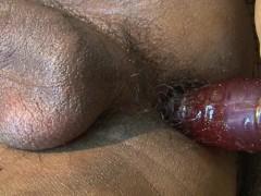 ladyboy wearing fishnet stockings jerks her foreskin