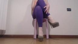 feet fetish, high heels, leggings, nails with nail polish