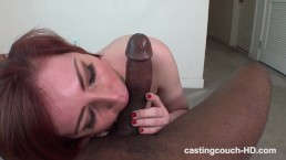 Redhead Faye takes first time Black cock at video casting audition