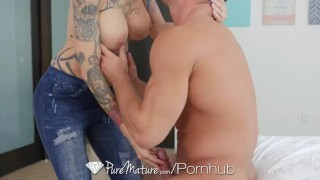 Preview 3 of PureMature - Tattooed Anna Bell Peaks stunning body of art