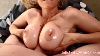 Hot Milf Julia Ann Lets Him Titty Fuck Her Big Tits! Blowjob babe