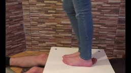 Cock crush in jeans barefoot