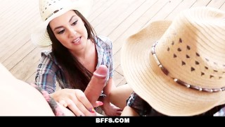 BFFS - Hot Country Girls Share A Cock Open wide