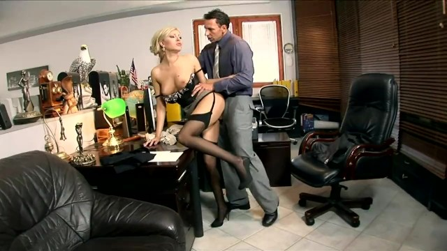 Mock garter pantyhose - Blonde secretary donna bell fucked in black seamed stockings and a garter