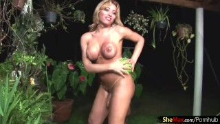 Big titty t-girl gets a melon workout before jerking off Blonde shemale