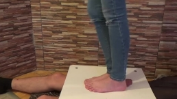 Barefoot cock balls smashing