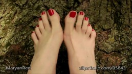Beautiful Long Toes and Red toenails