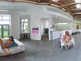 VR Bangers – [360° VR] 3 Crazy Hot Girls Striptease and Masturbate around u