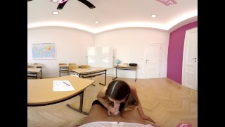 VR Bangers-360°VR Foreign exchange student FUCKED HARD on Teacher's Desk Rubbing tits