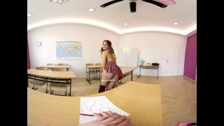 VR Bangers-360°VR Foreign exchange student FUCKED HARD on Teacher's Desk Balls blowjob