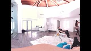VR Bangers - 360°VR Hot Ebony Pole Dancer Nadia Jae fingered by 2 buddies Cute girl