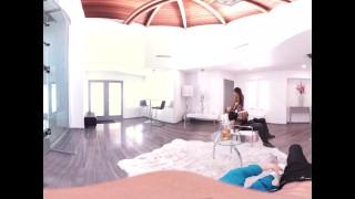 VR Bangers - 360°VR Hot Ebony Pole Dancer Nadia Jae fingered by 2 buddies