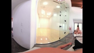 VR Bangers-360°VR DILLION and PRISTINE SCISSORING after NAKED Racquetbal Shot punk