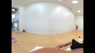 VR Bangers-360°VR DILLION and PRISTINE SCISSORING after NAKED Racquetbal