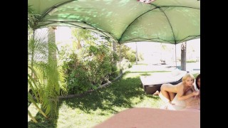 VR Bangers - 360°VR Alix and Nadia suck and ride white cock by the pool Brunette couch