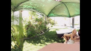VR Bangers - 360°VR Alix and Nadia suck and ride white cock by the pool Tits sclip